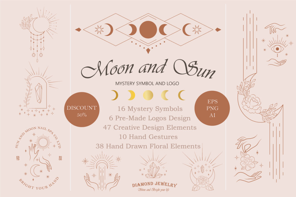 Moon and Sun Mystery Symbol and Logo