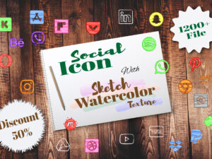 Sketch Watercolor Social Icons