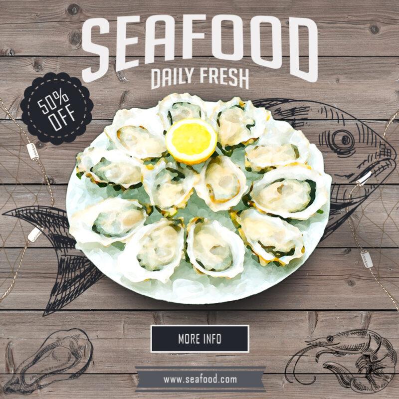 Seafood Banner Mockup
