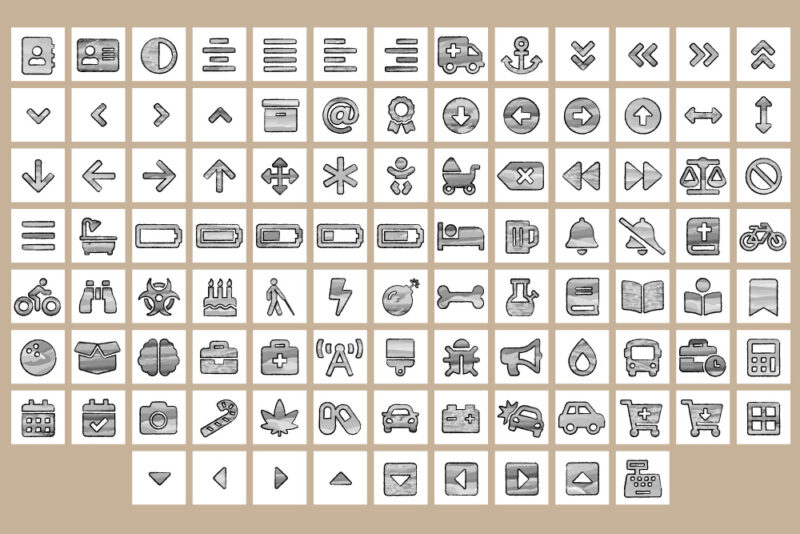 Sketch Watercolor Common Icon Sets