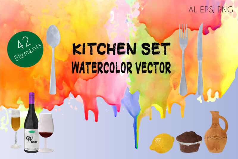Kitchen Set Watercolor Vector Elements