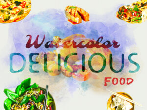 Watercolor Delicious Food Design Elements