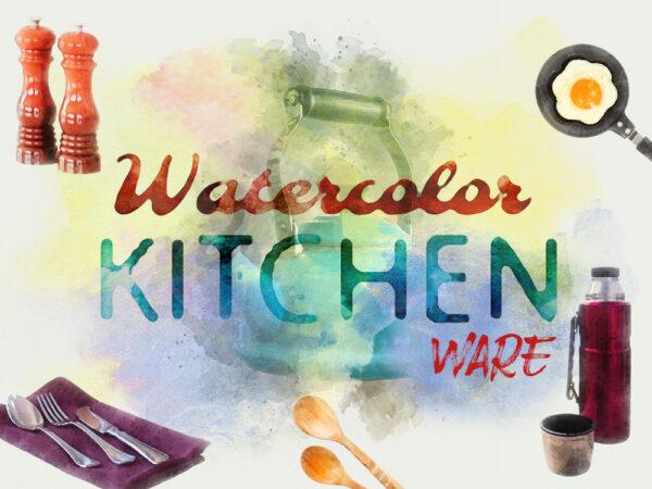 Watercolor Kitchenware Design Elements