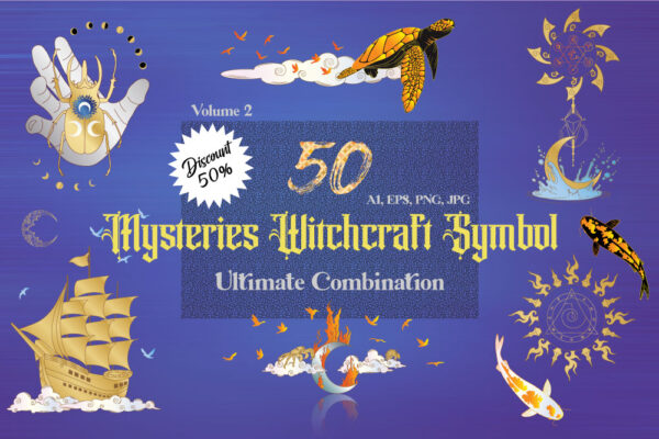 50 Mysteries Witchcraft Symbols Combination